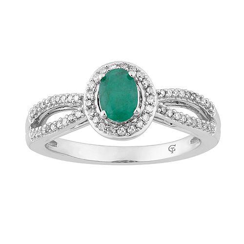 10k White Gold Emerald & 1/5 Carat T.W. Diamond Halo Ring