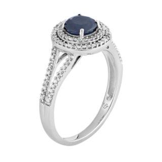 10k White Gold Sapphire & 1/3 Carat T.W. Diamond Halo Ring