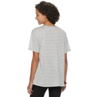 Disney's Mickey Mouse 90th Anniversary Juniors' Mickey Mouse Striped Ringer Tee
