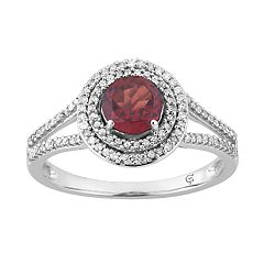 10k White Gold Garnet & 1/3 Carat T.W. Diamond Double Halo Ring