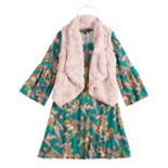 Girls 7-16 My Michelle Printed Dress & Faux-Fur Vest Set