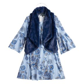 Girls 7-16 My Michelle Printed Dress & Faux-Fur Vest Set