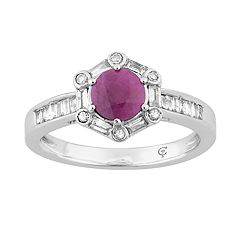 10k White Gold Ruby & 1/4 Carat T.W. Diamond Hexagon Frame Ring