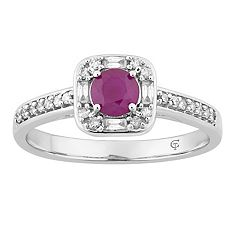 10k White Gold Ruby & 1/4 Carat T.W. Diamond Square Frame Ring