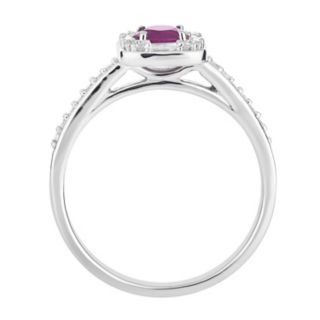 10k White Gold Ruby & 1/4 Carat T.W. Diamond Square Frame Ring