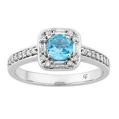 10k White Gold Swiss Blue Topaz & 1/4 Carat T.W. Diamond Square Frame Ring