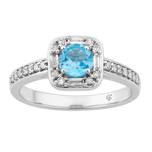 10k White Gold Swiss Blue Topaz & 1/4 Carat T.W. Diamond Square Frame Ring