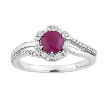 10k White Gold Ruby & 1/5 Carat T.W. Diamond Ring
