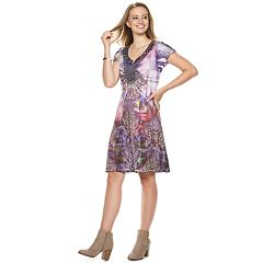 Women's World Unity Printed Medallion Crochet Shift Dress