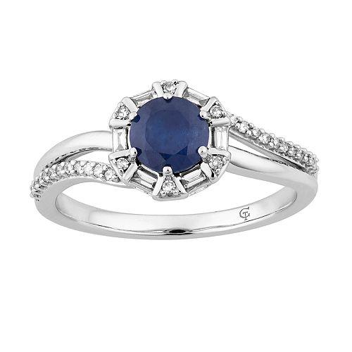 10k White Gold Sapphire & 1/5 Carat T.W. Diamond Ring
