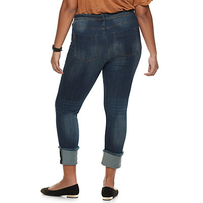 Juniors' Plus Size Almost Famous Roll Cuff Mid-Rise Skinny Jeans