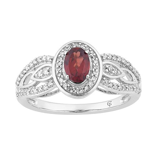 10k White Gold Garnet & 1/4 Carat T.W. Diamond Oval Halo Ring