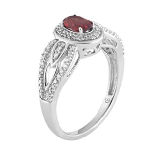 10k White Gold Garnet & 1/4 Carat T.W. Diamond Oval Halo Ring