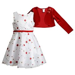 Girls 4-6x Youngland Embroidered Floral Dress & Velvet Bolero Set