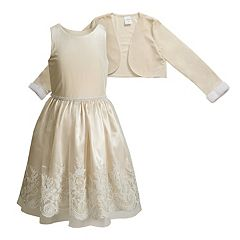 Girls 4-6x Youngland Velvet Lace Dress & Bolero Set