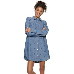 Disney's Mickey Mouse 90th Anniversary Juniors' Chambray Shirtdress