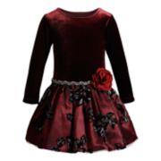 Girls 4-6x Youngland Velvet Floral Embroidered Dress
