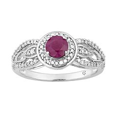 10k White Gold Ruby & 1/4 Carat T.W. Diamond Halo Ring