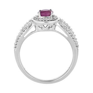 10k White Gold Ruby & 1/4 Carat T.W. Diamond Halo Ring