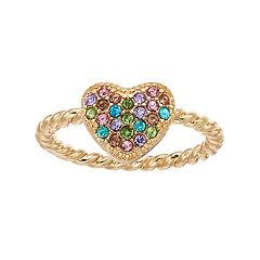 LC Lauren Conrad Rainbow Simulated Crystal Heart Ring