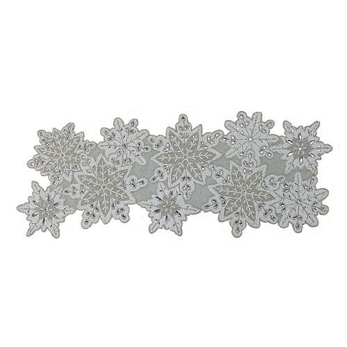 St. Nicholas Square® Beaded Snowflake Table Runner - 36""