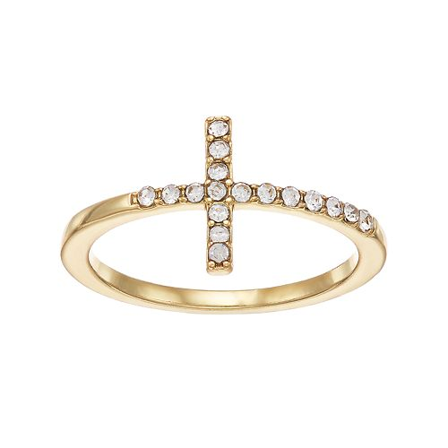 LC Lauren Conrad Simulated Crystal Sideways Cross Ring