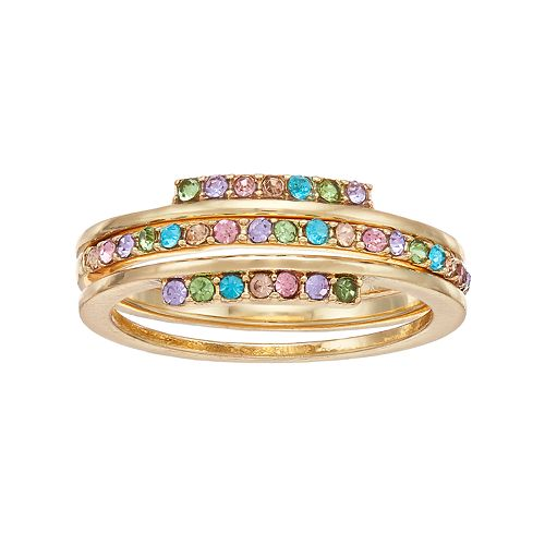 LC Lauren Conrad Rainbow Simulated Crystal Stack Ring Set