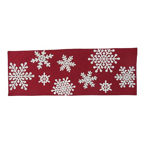 St. Nicholas Square® Red Snowflake Table Runner - 36""