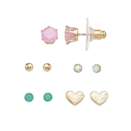 LC Lauren Conrad Simulated Crystal Nickel Free Heart Stud Earring Set