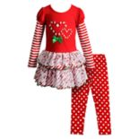 Girls 4-6x Youngland Candy Cane Dress & Polka-Dot Leggings Set
