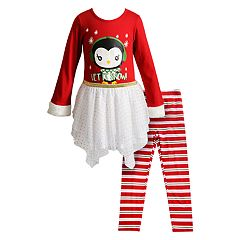 Girls 4-6x Youngland 'Let It Snow' Dress & Striped Leggings Set