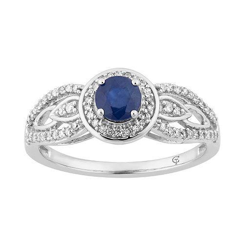 10k White Gold Sapphire & 1/4 Carat T.W. Diamond Halo Ring