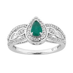 10k White Gold Emerald & 1/4 Carat T.W. Diamond Teardrop Ring