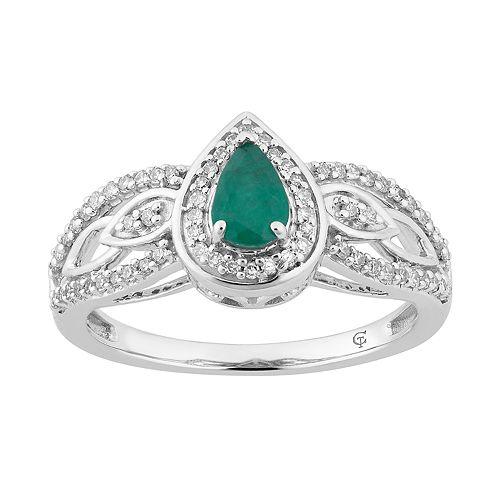 10k White Gold Emerald & 1/4 Carat T.W. Diamond Teardrop Ring