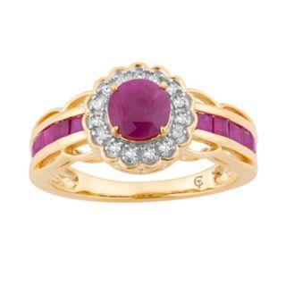 10k Gold Ruby & 1/8 Carat T.W. Diamond Tiered Flower Ring