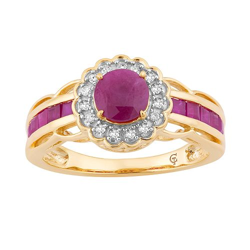 10k Gold Ruby & 1/8 Carat T.W. Diamond Tiered Flower Ring
