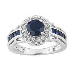 10k Gold Sapphire & 1/8 Carat T.W. Diamond Tiered Flower Ring