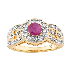 10k Gold Ruby & 1/3 Carat T.W. Diamond Tiered Flower Ring