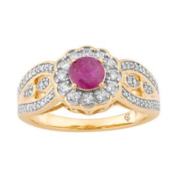 10k Gold Ruby & 1/3 Carat T.W. Diamond Tiered Flower Ring