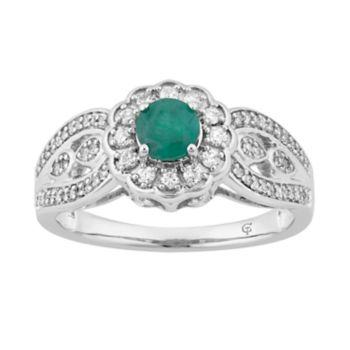 10k Gold Emerald & 1/3 Carat T.W. Diamond Tiered Flower Ring