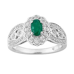 10k Gold Emerald & 1/3 Carat T.W. Diamond Flower Ring
