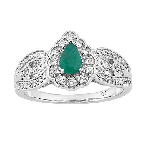 10k White Gold Emerald & 1/3 Carat T.W. Diamond Teardrop Ring