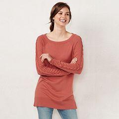 Petite LC Lauren Conrad Lace-Up Sleeve Tunic Sweater