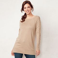 Petite LC Lauren Conrad Lace-Up Sleeve Tunic Sweater