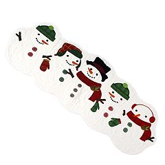 St. Nicholas Square® Quilted Snowman Table Runner - 36'
