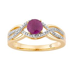 10k Gold Ruby & 1/5 Carat T.W. Diamond Swirl Ring