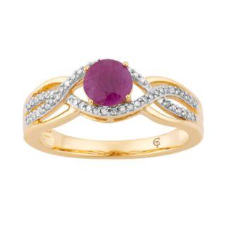 10k Gold Ruby & 1/5 Carat T.W. Diamond Swirl Ring