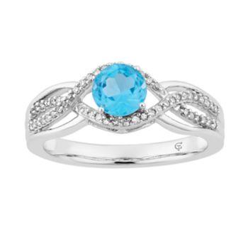 10k White Gold Swiss Blue Topaz & 1/5 Carat T.W. Diamond Swirl Ring