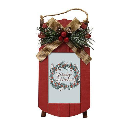 "St. Nicholas Square® Rustic Red Sled 4"" x 6"" Frame"