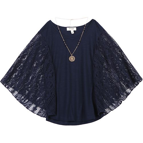 Girls 7-16 Speechless Lace Sleeves Circle Top & Necklace Set